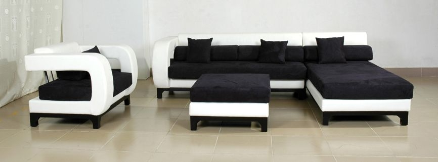 Blossom White And Black Top Graded Real Leather Sofa Best Hd With White And Black Sofas (#11 of 15)