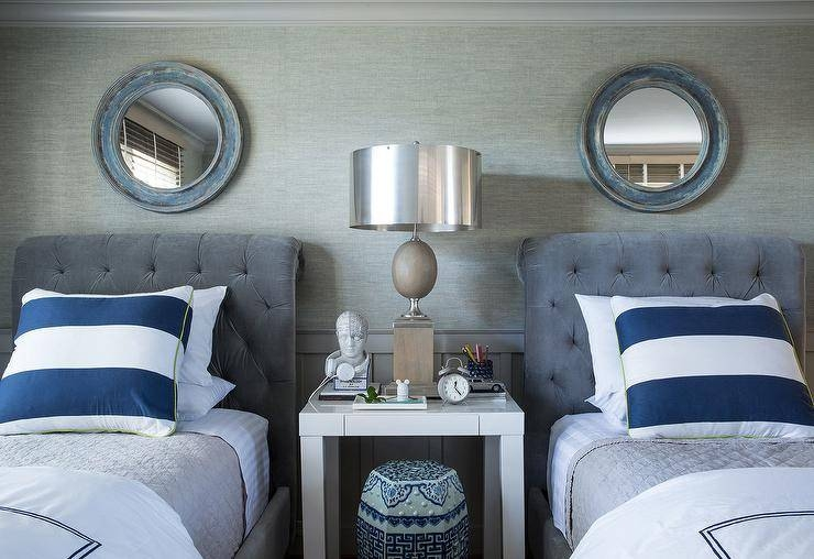 Blue And Gray Boys Bedroom With Gray Velvet Tufted Sleigh Beds For Blue Distressed Mirrors (#23 of 30)