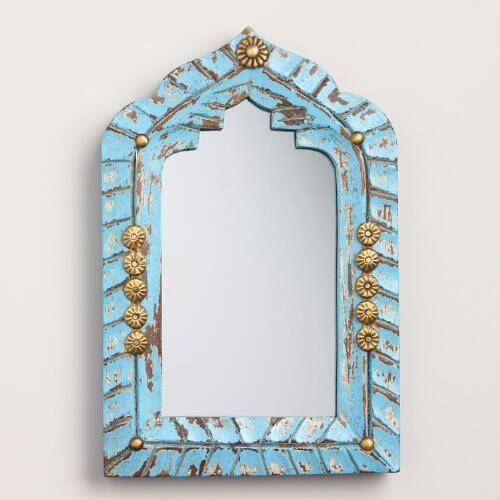 Blue Carved Wood Mirror Regarding Mirrors With Blue Frame (View 6 of 20)