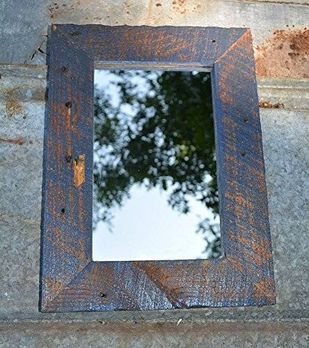 Blue Frame Reclaimed Wood Mirror With Uttermost Bozeman Heavily For Blue Distressed Mirrors (#24 of 30)