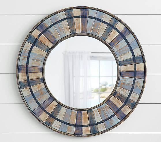 Blue Hues Weathered Mirror With Regard To Blue Round Mirrors (#13 of 30)