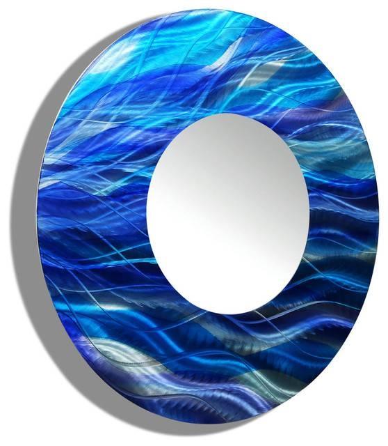Blue Ocean Inspired Large Round Metal Mirror – Contemporary Metal Inside Large Round Metal Mirrors (View 11 of 30)