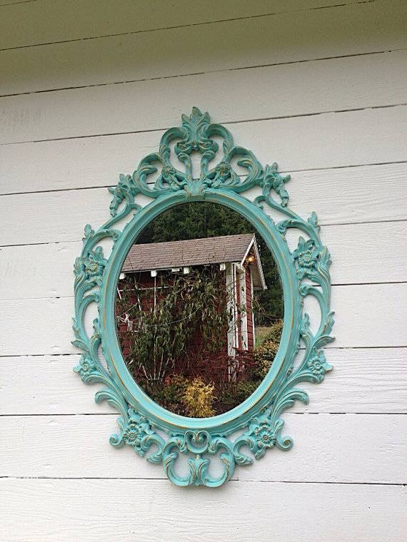 Blue Wall Mirror Ornate Nursery Mirror Shabby Chic Mirror Regarding Shabby Chic Wall Mirrors (View 20 of 30)
