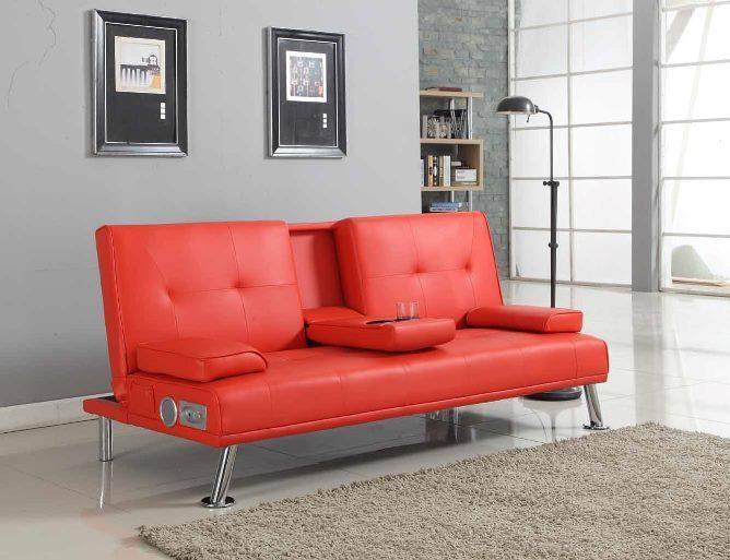 Bluetooth Cinema Sofa Bed With Drink Cup Holder Table Faux Leather Pertaining To Sofa Drink Tables (#9 of 15)