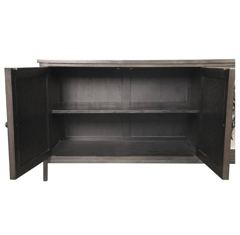 Bobby Global Bazaar Mirror 4 Door Dark Grey Sideboard Cabinet Intended For Dark Grey Sideboard (#7 of 20)