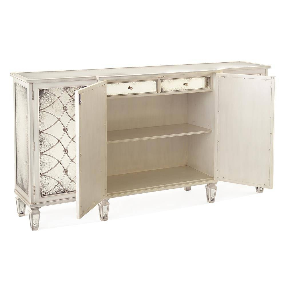 Bonet Hollywood Regency Grillwork Antique White Mirrored Sideboard For Mirrored Sideboards (#4 of 20)
