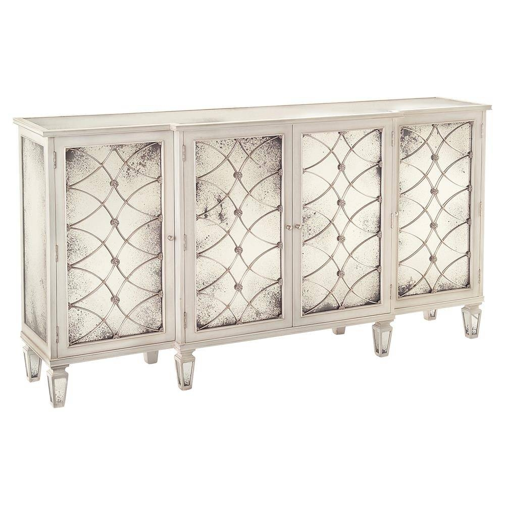 Bonet Hollywood Regency Grillwork Antique White Mirrored Sideboard With Mirrored Sideboard (View 11 of 20)