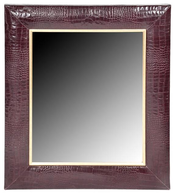 Bordeaux Classic Croc Leather Framed Mirror – Wall Mirrors – Throughout Wall Leather Mirrors (#7 of 30)