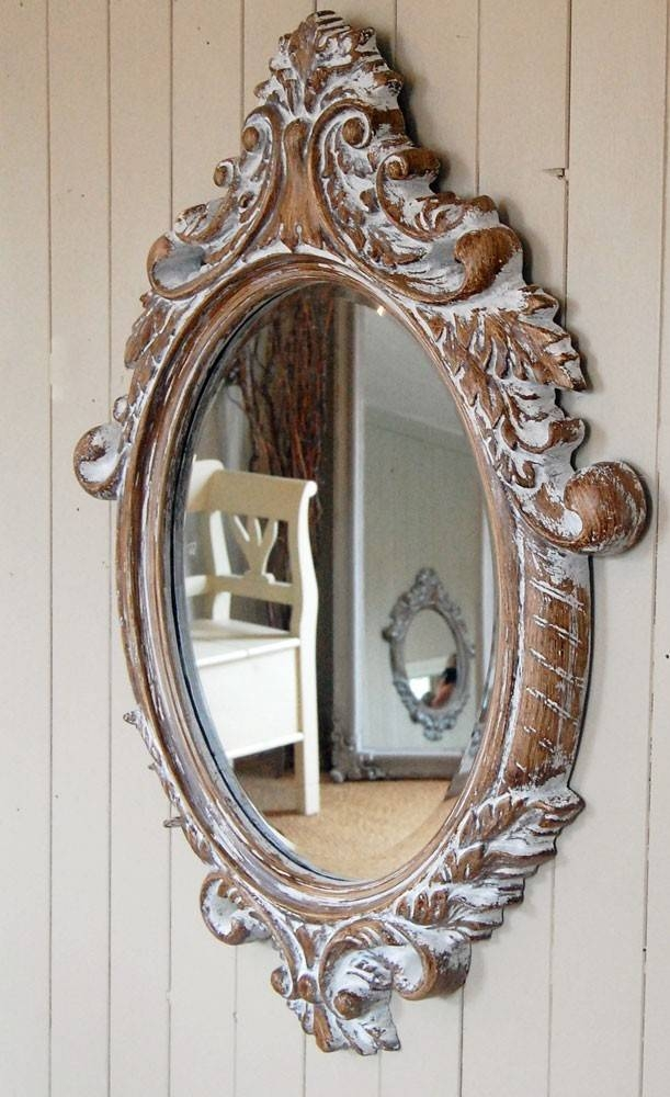 Bowley & Jackson French Shabby Chic Wooden Ornate Oval Mirror For French Wall Mirrors (View 11 of 20)