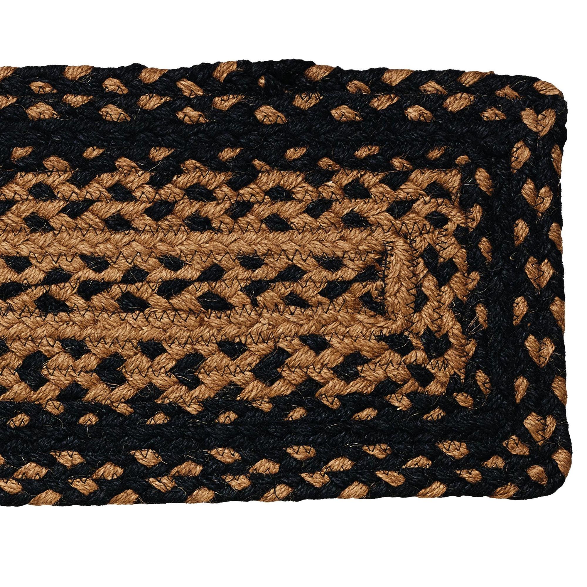 Braided Stair Treads 8×28 Set Of 13 Black Tan Rectangle Ebay For Rectangular Stair Treads (#1 of 20)