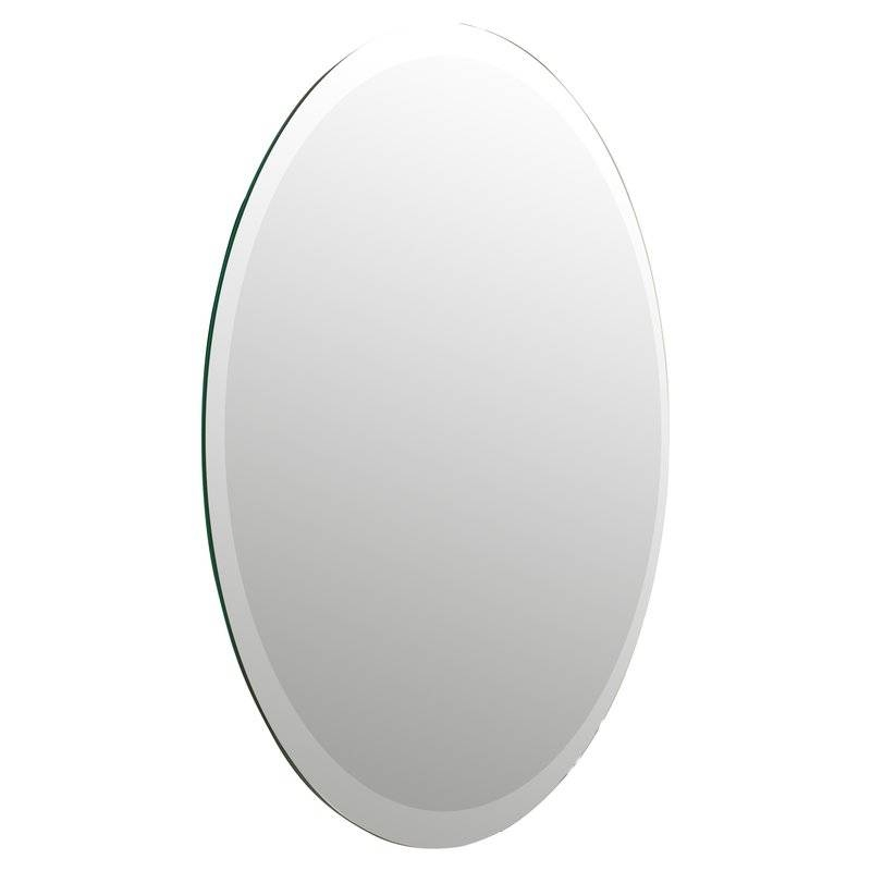 Brayden Studio Oval Bevel Frameless Wall Mirror & Reviews | Wayfair Pertaining To Oval Bevelled Mirrors (#9 of 30)