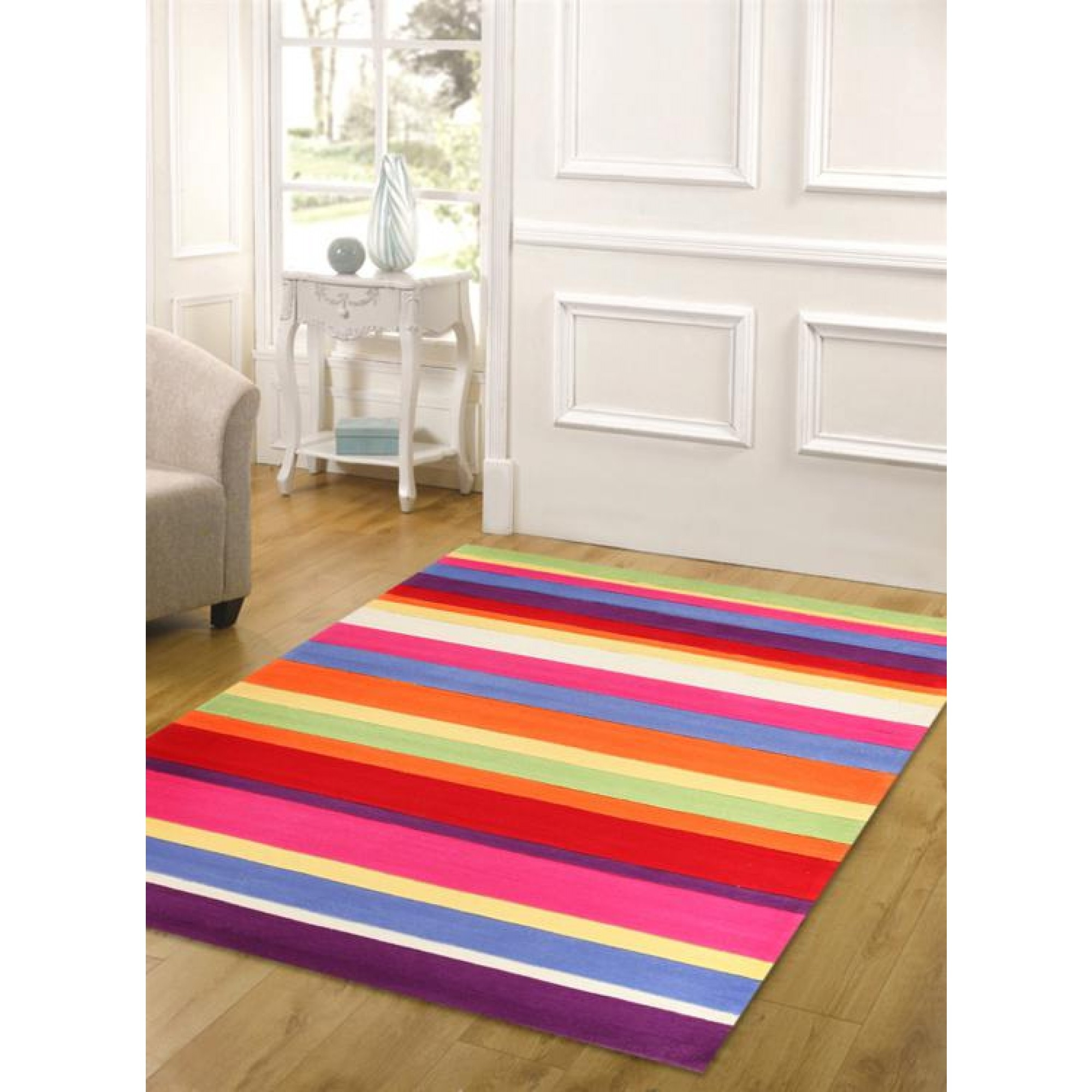 Bright Coloured Candy Stripe Kids Floor Rugs Free Shipping Regarding Striped Hallway Runners (#6 of 20)