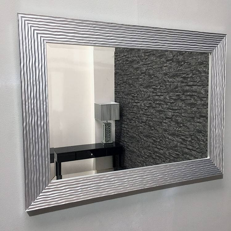 Bright Silver Framed Galaxy Wall Mirror 108X78Cm   Exclusive Mirrors Throughout Long Silver Wall Mirrors (#7 of 15)