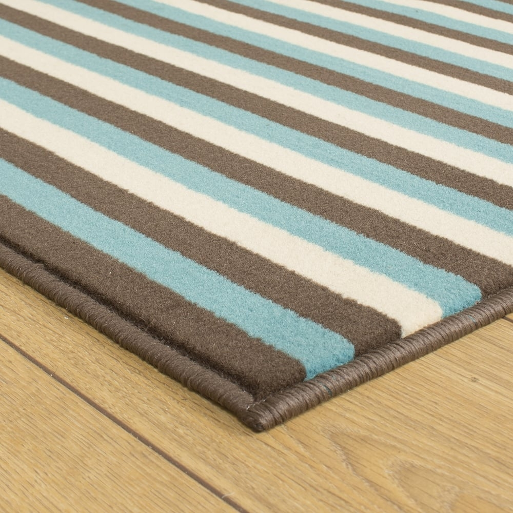 Brown Blue Cream Hallway Carpet Runner Striped With Regard To Striped Hallway Runners (#7 of 20)