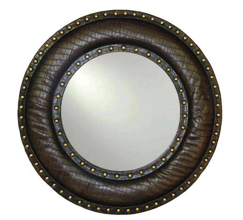 Brown Faux Round Leather Mirror – Arthouse Throughout Round Leather Mirrors (#5 of 30)