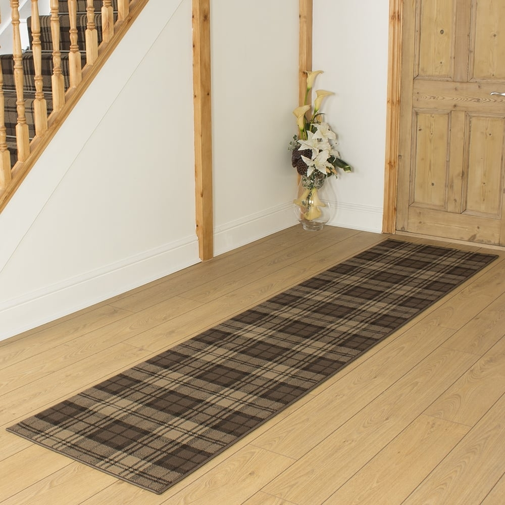 Brown Hallway Carpet Runner Tartan Throughout Carpet Runners For Hallways (#7 of 20)
