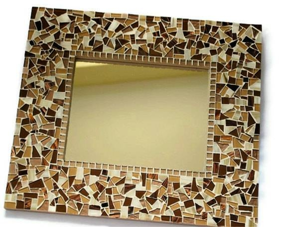 Brown Mosaic Wall Mirror In Mosaic Wall Mirrors (#5 of 20)