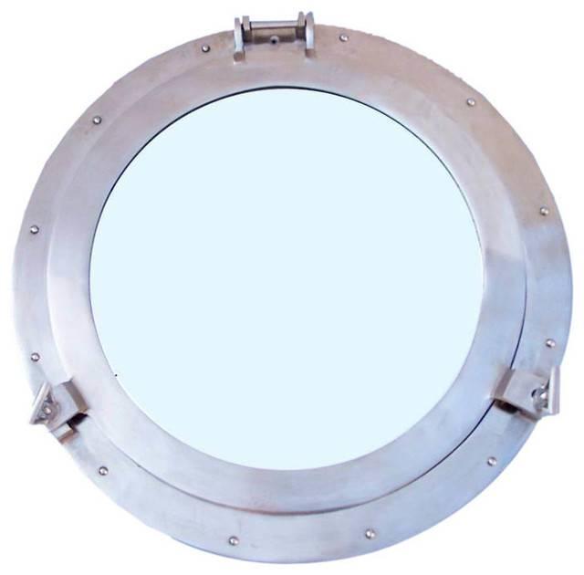 Brushed Nickel Decorative Ship Porthole Mirror 20'', Decorative With Porthole Style Mirrors (#5 of 20)