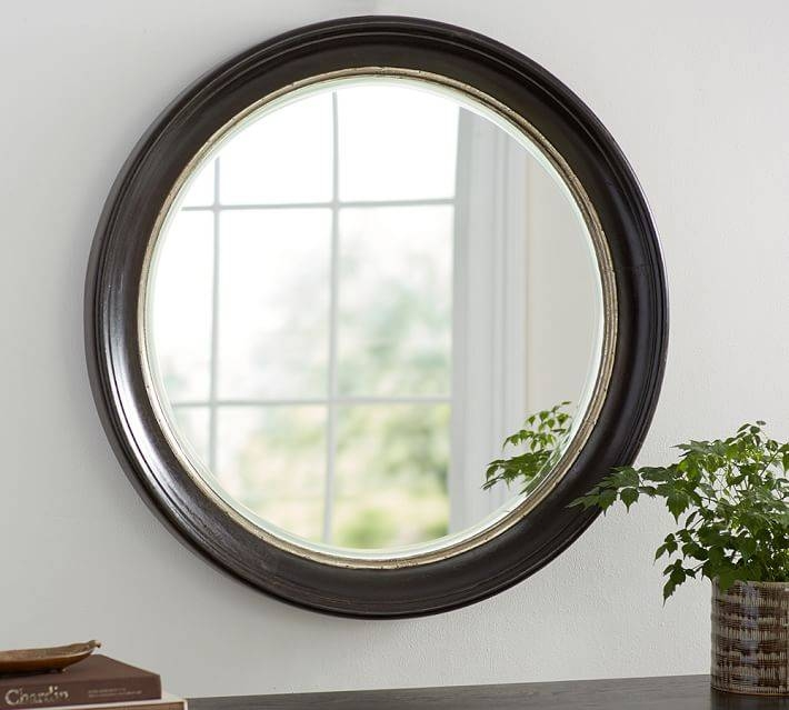 Brussels Round Mirror | Pottery Barn Pertaining To Black Round Mirrors (#9 of 20)