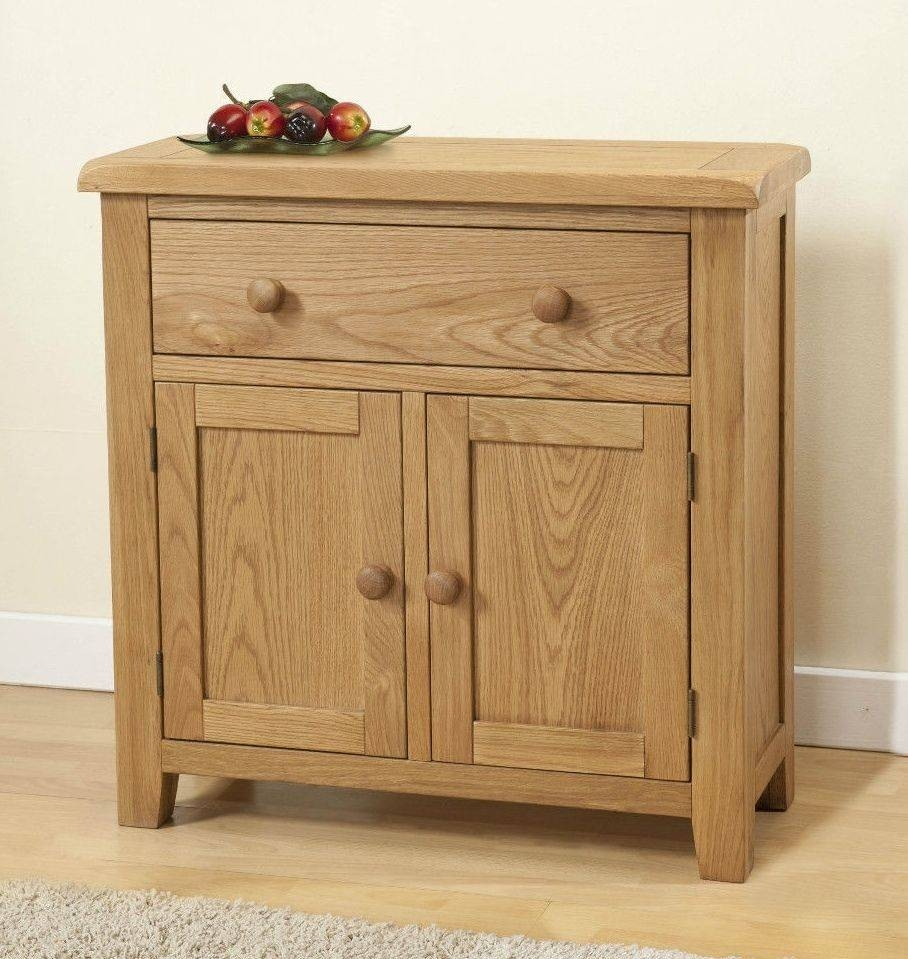 Burnham Solid Chunky Wood Rustic Oak Small Compact Sideboard Intended For Small Wooden Sideboard (#2 of 20)