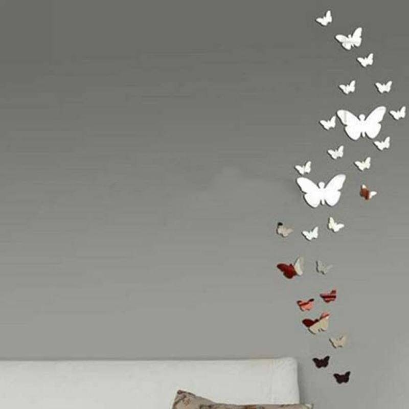 Butterfly 3D Art Silver Acrylic Mirror Wall Sticker Diy Butterfly Inside Butterfly Wall Mirrors (#6 of 20)