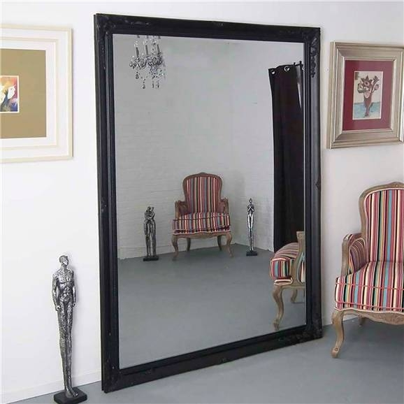 Buxton Extra Large Black Framed Ornate Mirror 140Cm X 200Cm Within Black Large Mirrors (#10 of 20)