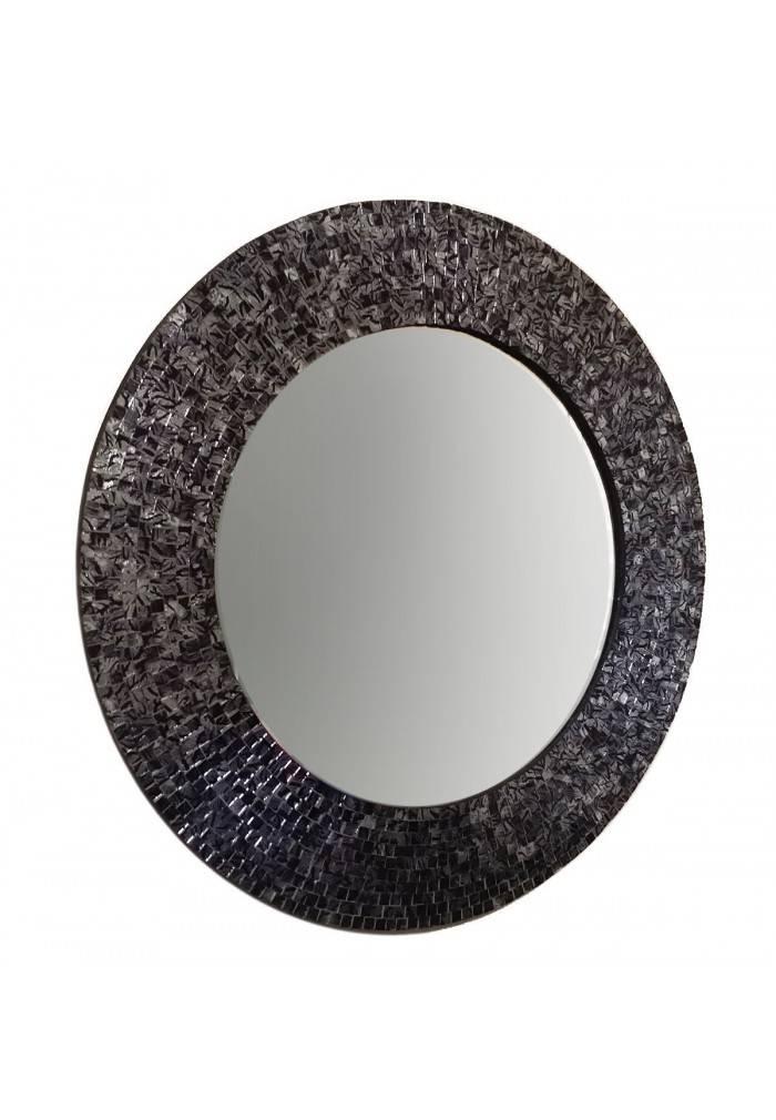 "Buy 24"" Black/silver Metallic Traditional Mosaic Decorative Wall Throughout Black Mosaic Mirrors (#9 of 30)"