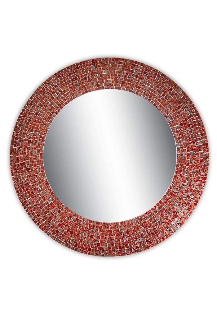 "Buy 24"" Red And Silver Traditional Mosaic Decorative Wall Mirror Pertaining To Red Wall Mirrors (#11 of 30)"