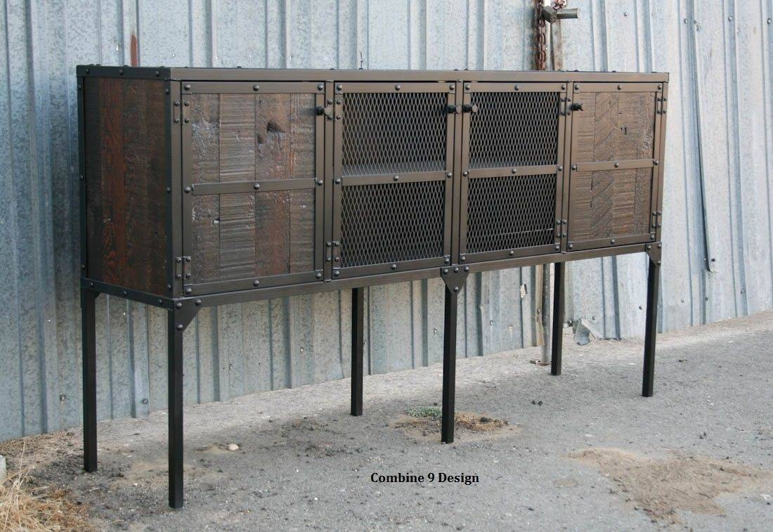 Buy A Hand Crafted Industrial Credenza, Media Console, Reclaimed Within Metal Sideboards Furniture (#6 of 20)