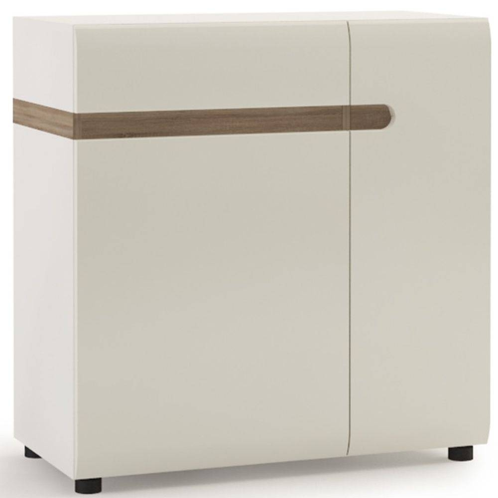 Buy Chelsea White High Gloss Sideboard With Truffle Oak Trim Within High Sideboard (View 1 of 20)