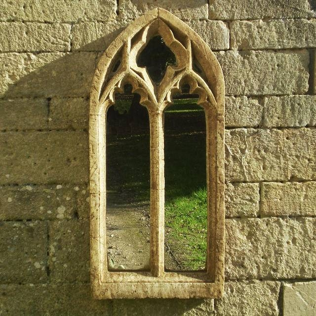 Buy Gothic Traceried Double Arch Garden Mirror — The Worm That Within Gothic Garden Mirrors (#10 of 30)