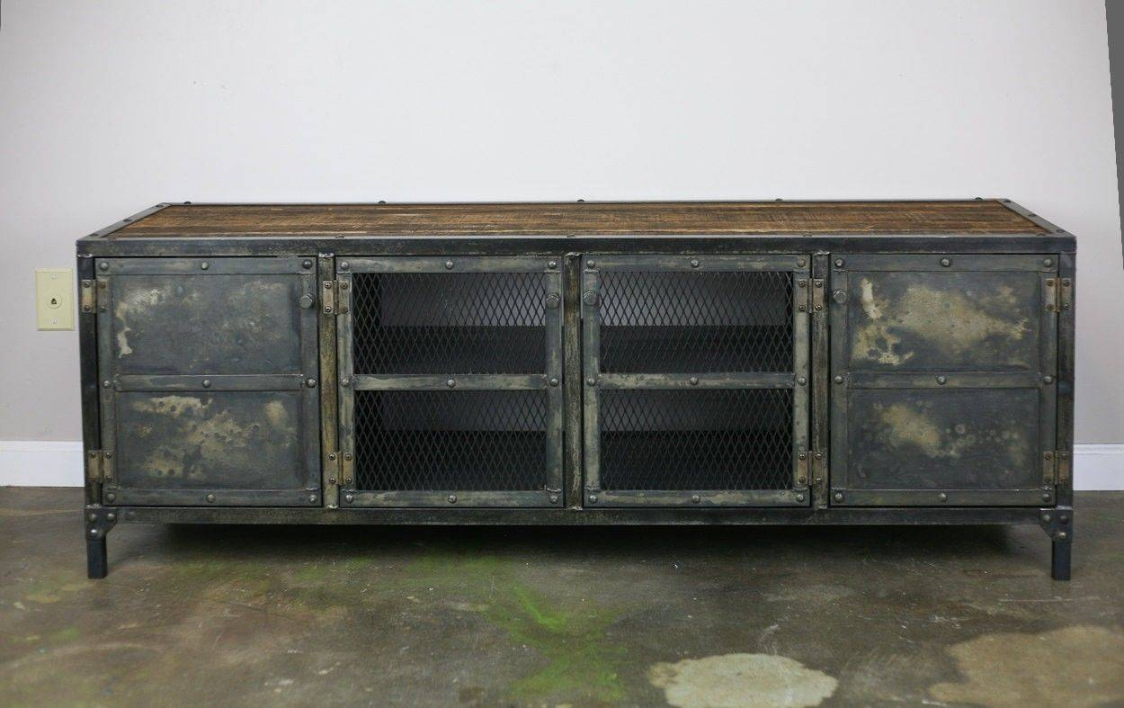 Buy Handmade Vintage Industrial Buffet/credenza Reclaimed Wood Top Pertaining To Metal Sideboards Furniture (#7 of 20)