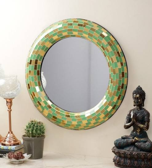 Buy Importwala Green Wood & Glass Round Mosaic Mirror Online Within Round Mosaic Mirrors (#11 of 30)