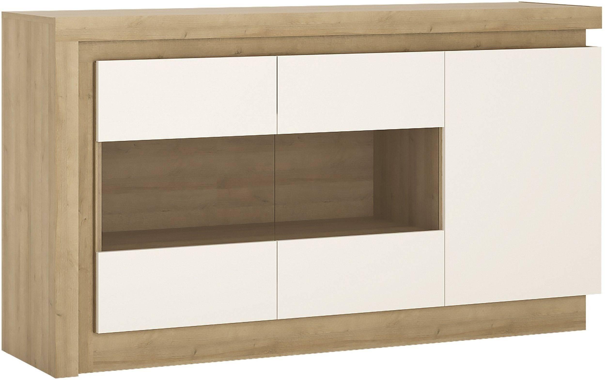 Buy Lyon Riviera Oak And White High Gloss Sideboard – 3 Door In White High Gloss Sideboard (#4 of 20)