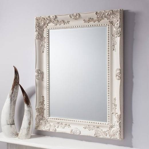 Buy Ornate Cream Wall Mirror   Rustic Carved Baroque Vintage Mirror With Regard To Antique Cream Wall Mirrors (View 4 of 20)