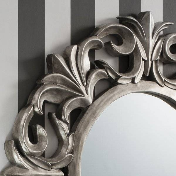Buy Ornate Silver Round Mirror | Pewter Circle Wall Hanging Mirrors Intended For Pewter Ornate Mirrors (View 15 of 30)
