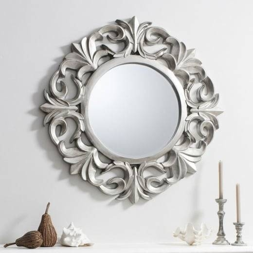 Buy Ornate Silver Round Mirror | Pewter Circle Wall Hanging Mirrors Pertaining To Silver Round Mirrors (#10 of 30)