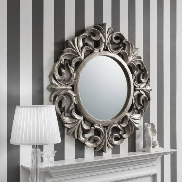 Buy Ornate Silver Round Mirror | Pewter Circle Wall Hanging Mirrors With Regard To Pewter Ornate Mirrors (View 16 of 30)