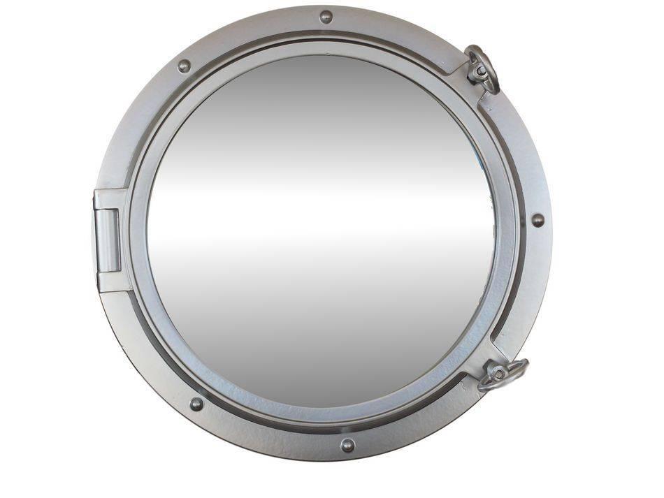 Buy Silver Finish Decorative Ship Porthole Mirror 24 Inch – Nautical In Porthole Style Mirrors (#6 of 20)