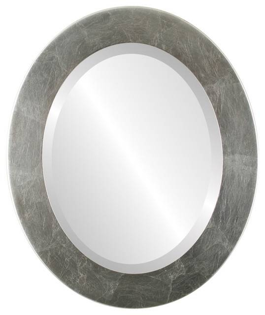 Cafe Framed Oval Mirror In Silver Leaf With Brown Antique Pertaining To Silver Oval Mirrors (#3 of 20)
