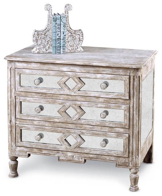 Calais French Country Diamond Antique Mirror Bedside Chest, 34 In Bedside Tables Antique Mirrors (#10 of 20)