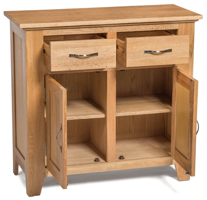Camberley Oak Small 2 Door 2 Drawer Sideboard – Sideboards & Tops With Small Sideboard With Drawers (#5 of 20)