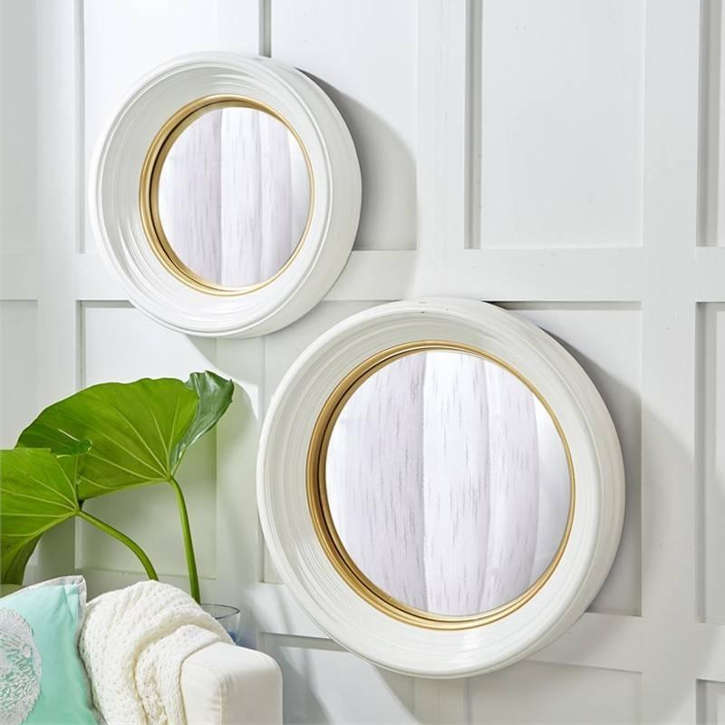 Candelabra Home White Lacquer Round Convex Mirrors | Candelabra, Inc (#4 of 30)