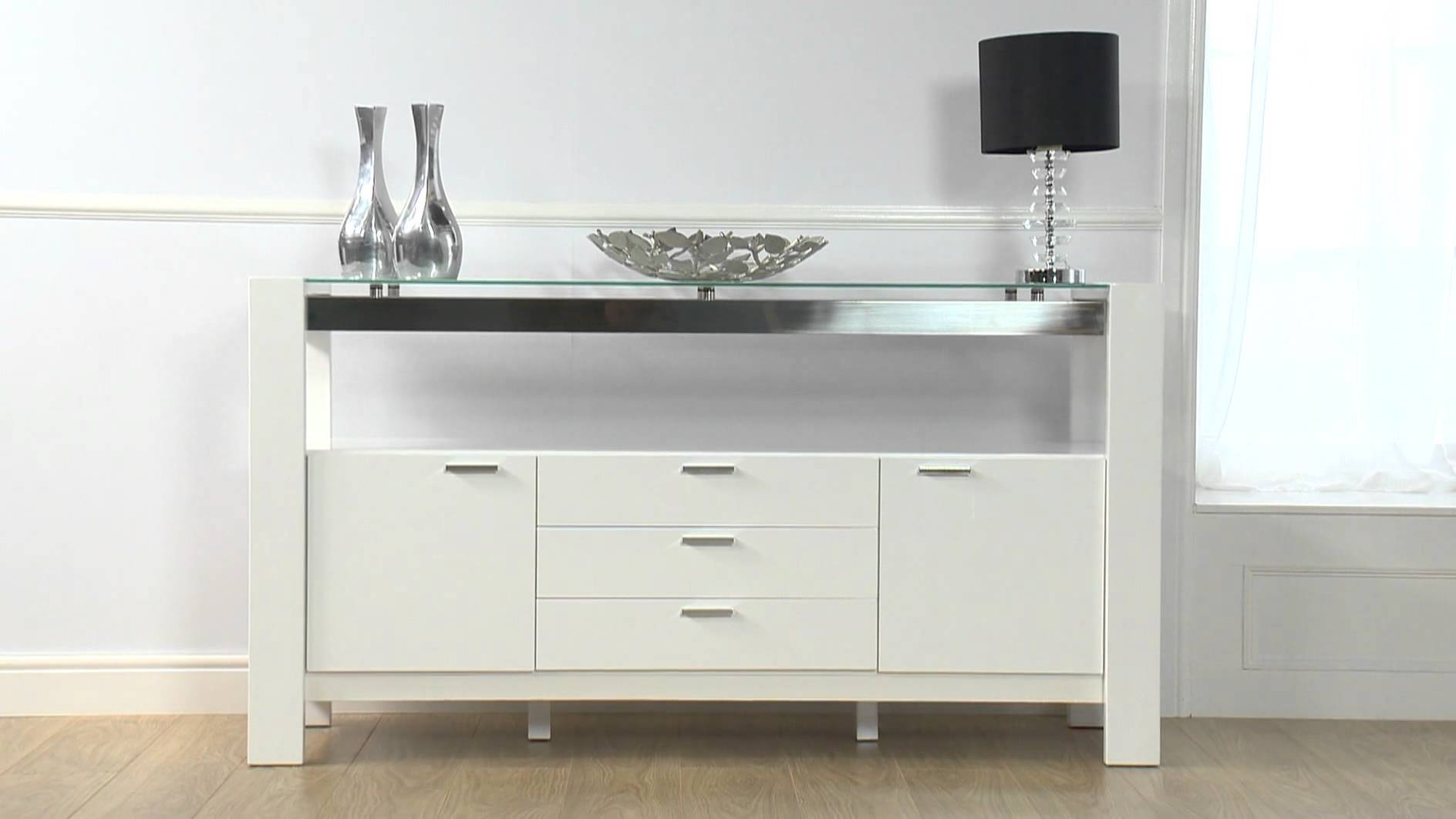 Cannes White High Gloss Sideboard – Ofstv – Youtube Inside White Gloss Sideboards (#3 of 20)