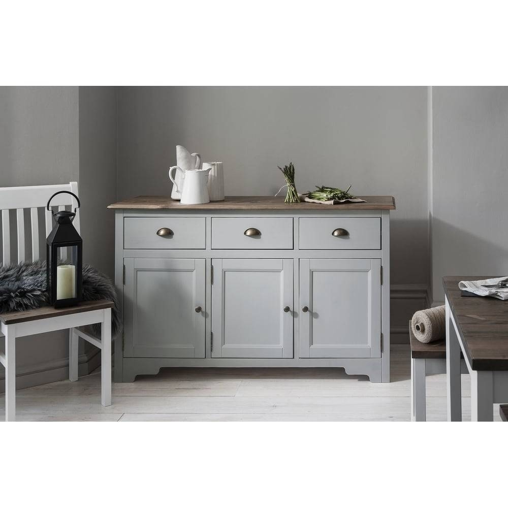 Canterbury 3 Drawer Sideboard Cabinet In Silk Grey | Noa & Nani In Dark Grey Sideboard (#9 of 20)