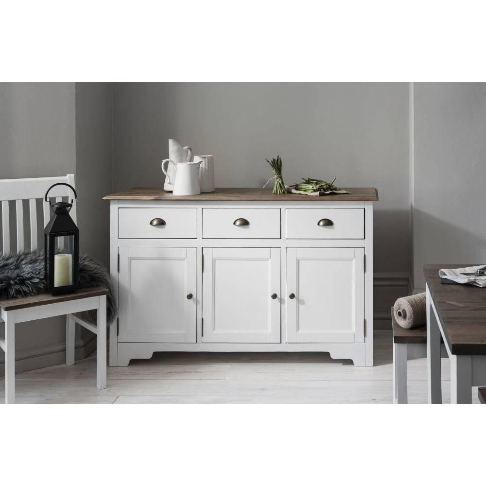 Canterbury 3 Drawer Sideboard In White & Dark Pine | Noa & Nani Within White Sideboard Cabinet (View 6 of 20)