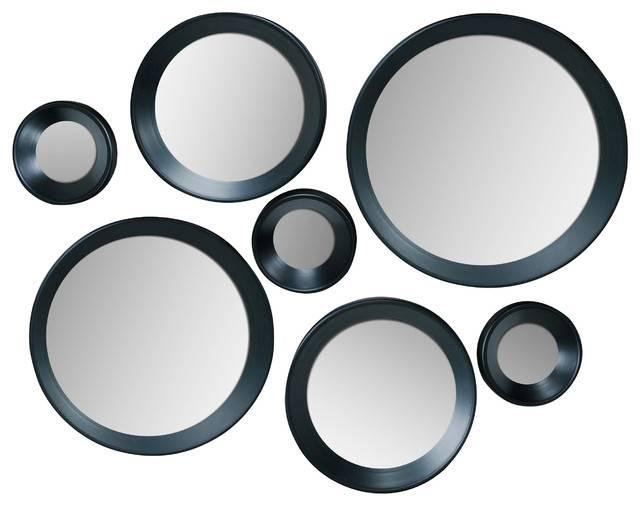 Carla Black Round Mirrors, Set Of 7 – Contemporary – Wall Mirrors For Round Mirrors (View 12 of 30)