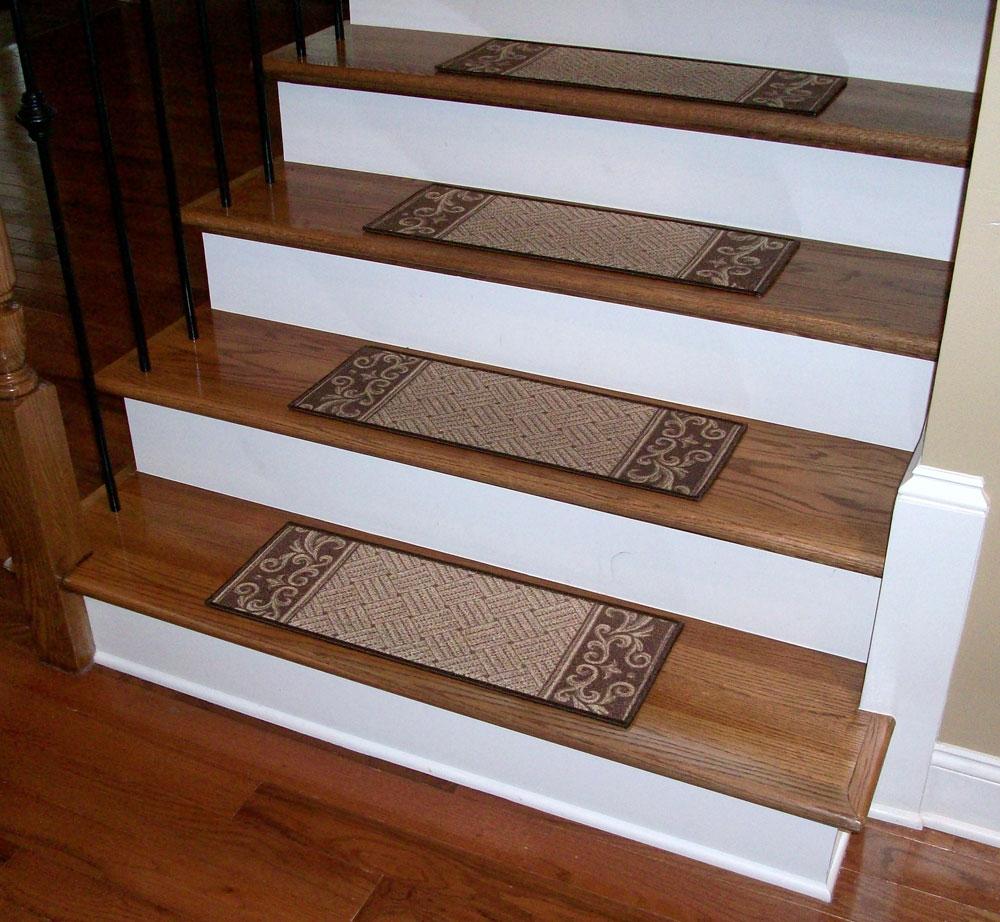 Carpet Stair Treads Caramel Scroll Border Dean Flooring Regarding Stair  Tread Carpet Covers (#2