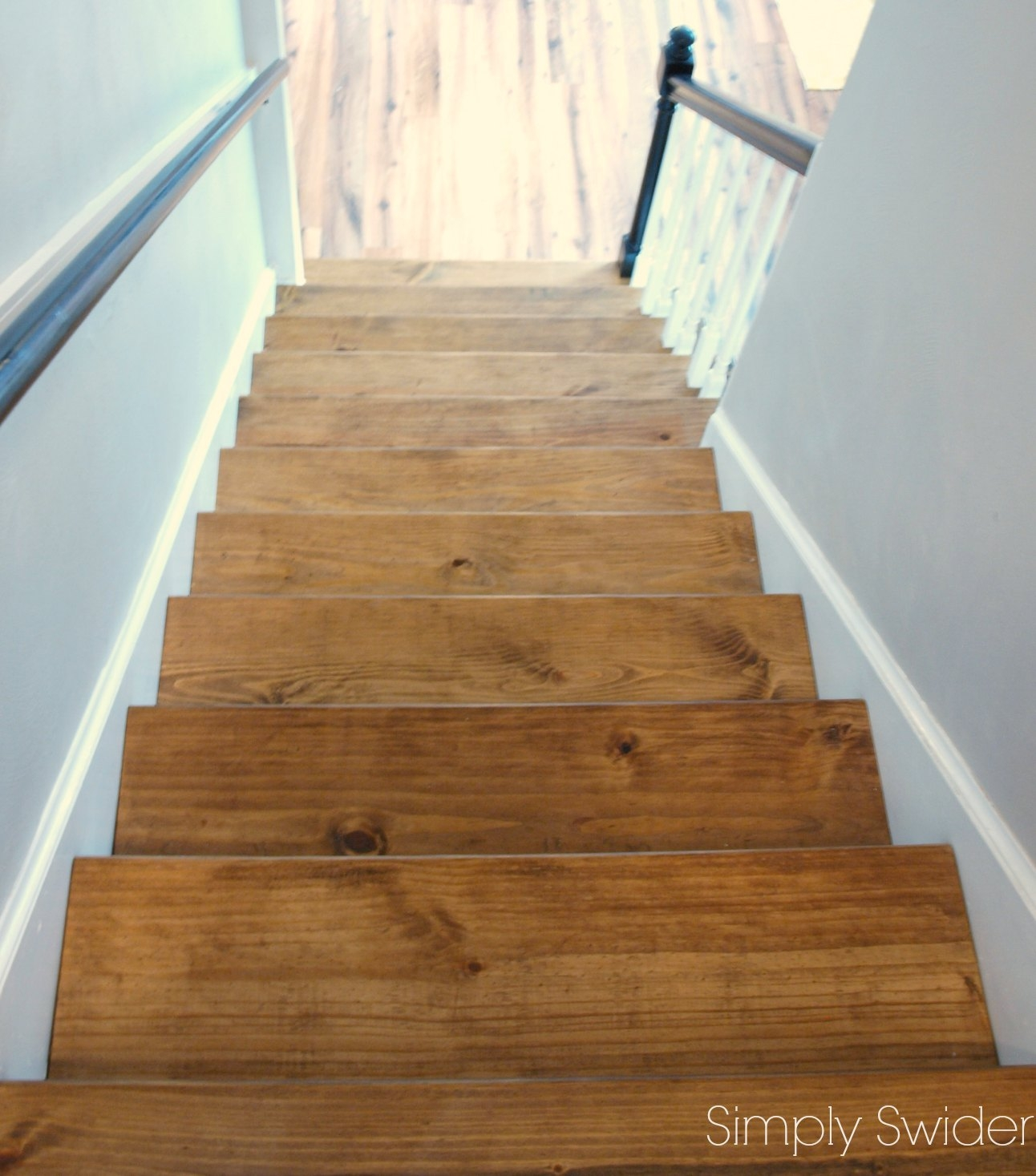 Carpet To Wood Stair Makeover Reveal Simply Swider In Carpet For Wood Stairs (#4 of 20)
