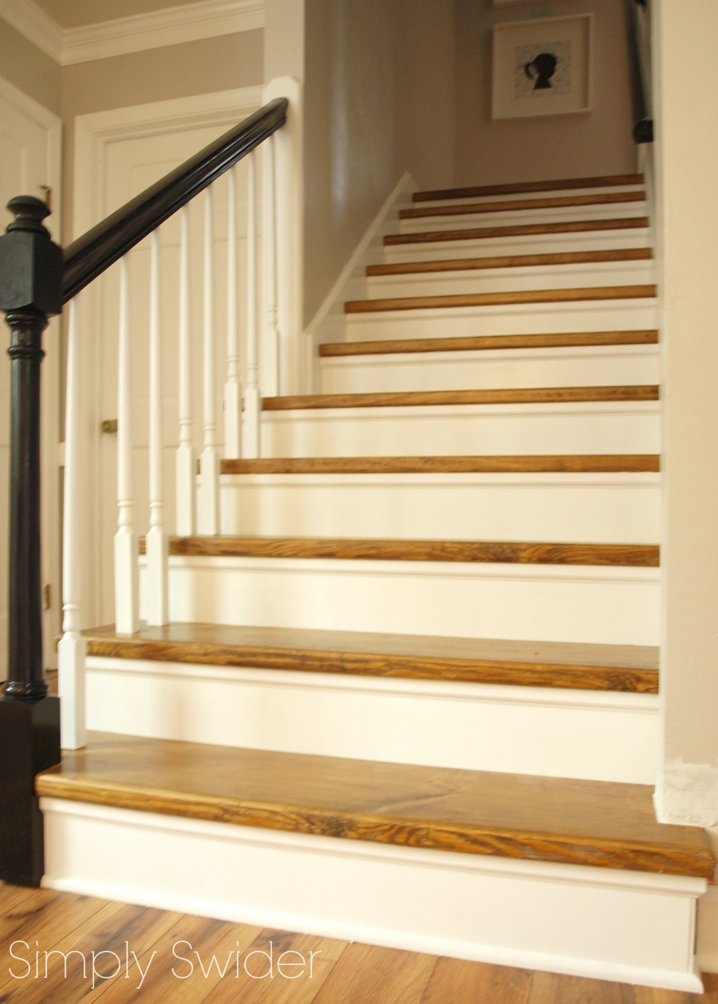 Carpet To Wood Stair Makeover Reveal Simply Swider Pertaining To Carpet For Wood Stairs (#5 of 20)